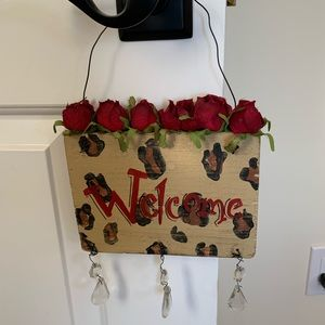 Welcome leopard sign shabby chic